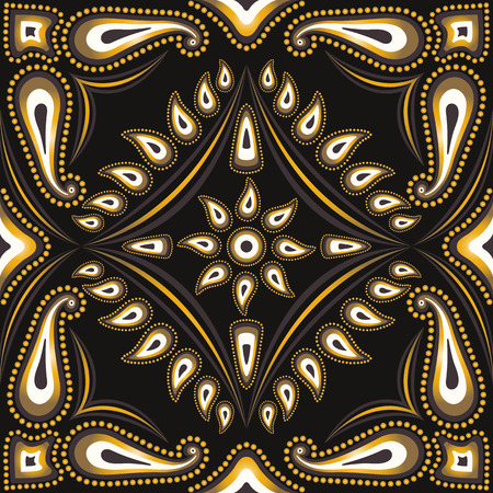 neckerchief: square ornamental pattern with golden and brown paisley. can use this pattern in design of bandana, neckerchief, scarf, shawl, and carpet