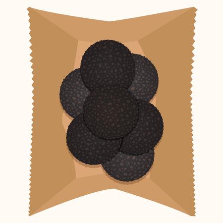 amande: boule de chocolat avec le gla�age d'amande et le sucre dans un sac de papier Illustration