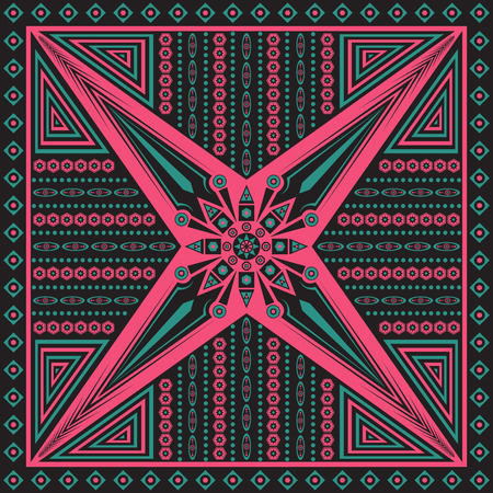 neckerchief: square ornamental cross pattern. can use this pattern in design of bandana, neckerchief, scarf, shawl, and carpet