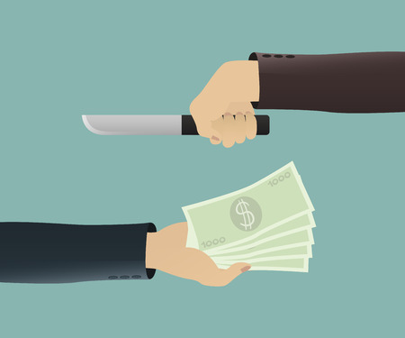 extortion: a businessman hand out  the money to robber Illustration