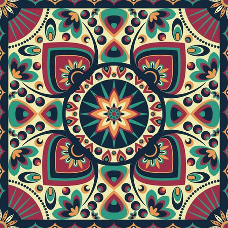 square ornamental pattern with lotus petal radial. can use this pattern in design of bandana, neckerchief, scarf, shawl, and carpet