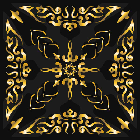 neckerchief: square ornamental classic golden pattern. can use this pattern in design of bandana, neckerchief, scarf, shawl, and carpet
