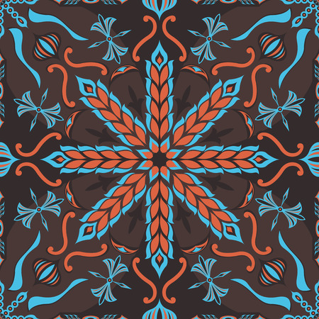 neckerchief: square ornamental pattern with ear of rice. can use this pattern in design of bandana, neckerchief, scarf, shawl, and carpet Illustration