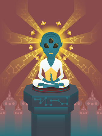 sitting meditation: alien sitting meditation on throne Illustration