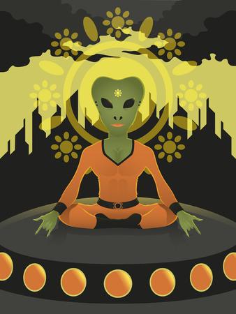 sitting meditation: alien sitting meditation on spaceship