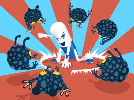 capsule pill fighting a virus
