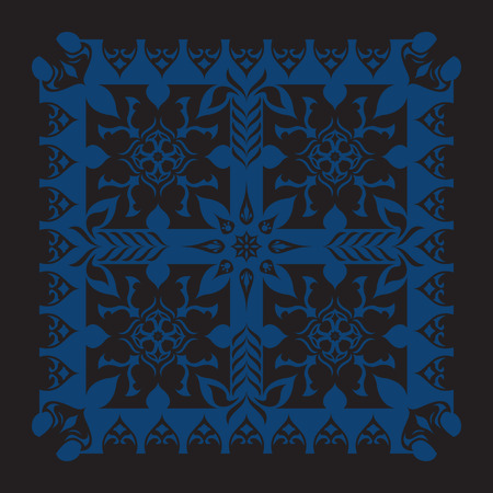 neckerchief: square ornamental classic blue and black pattern. can use this pattern in design of bandana, neckerchief, scarf, shawl, and carpet
