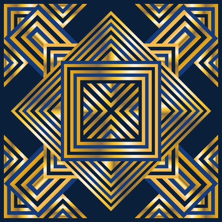 bandana: square ornamental geometric golden and blue pattern. can use this pattern in design of bandana, neckerchief, scarf, shawl, and carpet Illustration