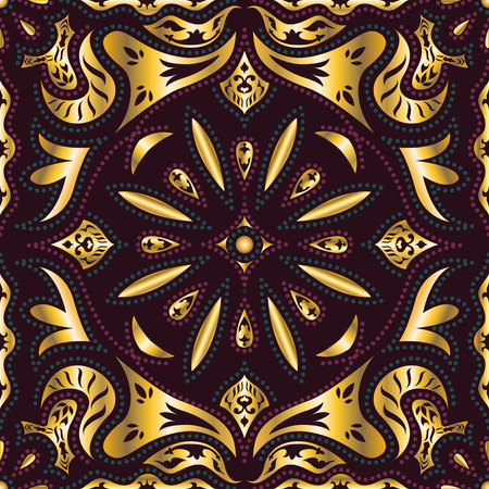 neckerchief: square ornamental classic golden and red pattern. can use this pattern in design of bandana, neckerchief, scarf, shawl, and carpet Illustration