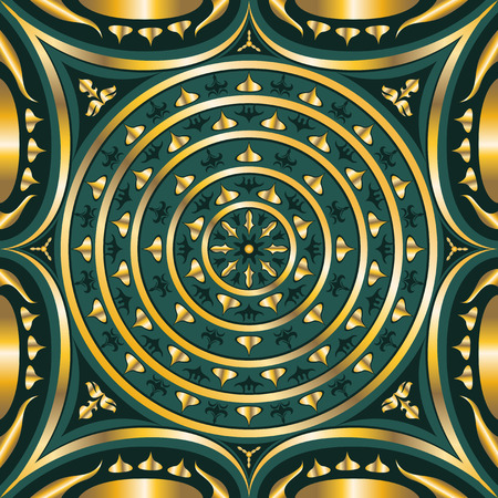 green carpet: square ornamental classic swirl golden and green pattern. can use this pattern in design of bandana, neckerchief, scarf, shawl, and carpet Illustration