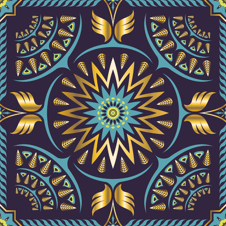 square ornamental classic golden and violet pattern. can use this pattern in design of bandana, neckerchief, scarf, shawl, carpet, and tile Illustration