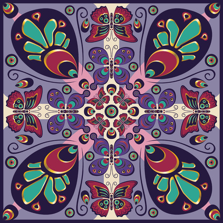 neckerchief: square ornamental classic butterfly pattern. can use this pattern in design of bandana, neckerchief, scarf, shawl, carpet, and tile Illustration