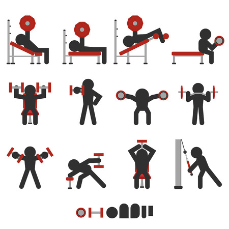 set of 12 icon free weight training character silhouetted