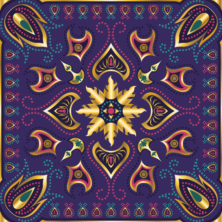 neckerchief: square ornamental classic flora pattern. can use this pattern in design of bandana, neckerchief, scarf, shawl, carpet, and tile