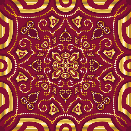 square ornamental classic golden and red pattern. can use this pattern in design of bandana, neckerchief, scarf, shawl, carpet, and tile