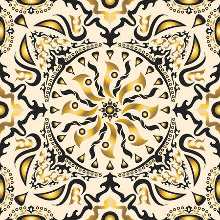 cuadrado cl�sico patr�n oro y crema ornamental. puede utilizar este modelo en el dise�o del pa�uelo, pa�uelo, bufanda, chal, alfombra, y el azulejo