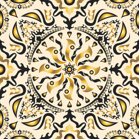 square ornamental classic golden and cream pattern. can use this pattern in design of bandana, neckerchief, scarf, shawl, carpet, and tile