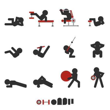 set of 12 icon weight training for abdominal only character silhouetted Vectores
