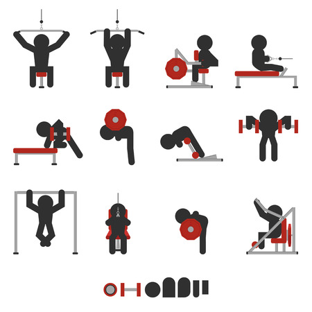 set of 12 icon weight training for back only character silhouetted