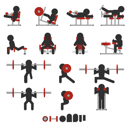 silhouetted: set of 14 icon weight training for legs only character silhouetted Illustration