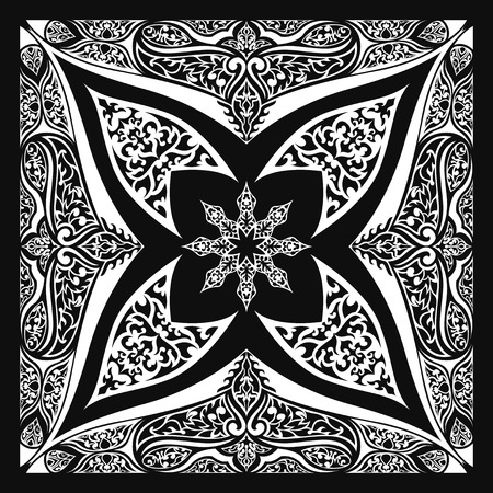 neckerchief: square ornamental pattern with black and white tribal. can use this pattern in design of bandana, neckerchief, scarf, shawl, carpet and tile