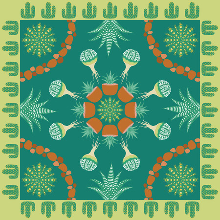 neckerchief: square ornamental cactus pattern. can use this pattern in design of bandana, neckerchief, scarf, shawl, and carpet Illustration