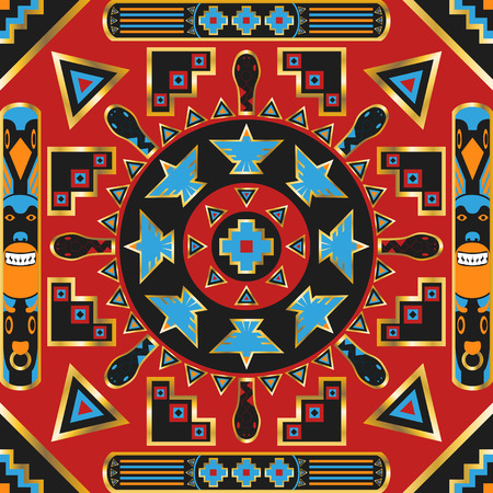 neckerchief: square ornamental american indian pattern. can use this pattern in design of bandana, neckerchief, scarf, shawl, and carpet