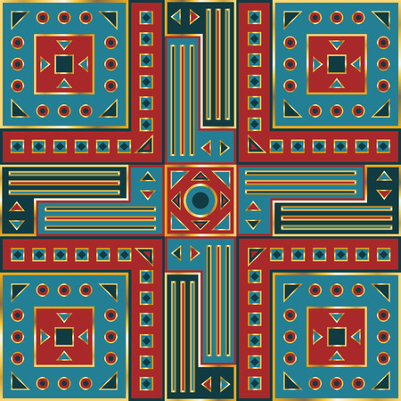 neckerchief: square ornamental classic geometric shape pattern. can use this pattern in design of bandana, neckerchief, scarf, shawl, carpet and tile Illustration