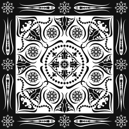 square ornamental classic black and white pattern. can use this pattern in design of bandana, neckerchief, scarf, shawl, carpet and tile
