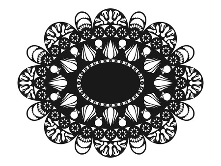 doily: classical black oval lace doily Illustration