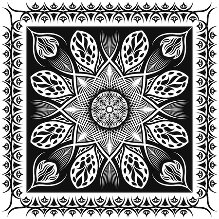 neckerchief: square ornamental classic black and white pattern. can use this pattern in design of bandana, neckerchief, scarf, shawl, carpet and tile