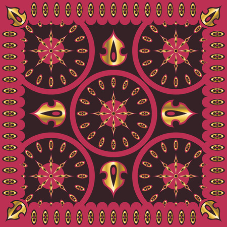 neckerchief: square ornamental classic golden and pink pattern. can use this pattern in design of bandana, neckerchief, scarf, shawl, carpet and tile