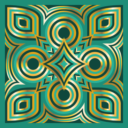 green carpet: square ornamental overlap golden and green pattern. can use this pattern in design of bandana, neckerchief, scarf, shawl, carpet and tile