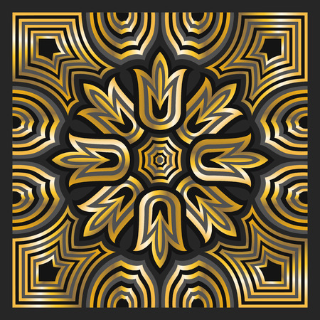 bandana: square ornamental overlap golden and black pattern. can use this pattern in design of bandana, neckerchief, scarf, shawl, carpet and tile Illustration