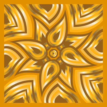 shawl: square ornamental overlap golden and yellow pattern. can use this pattern in design of bandana, neckerchief, scarf, shawl, carpet and tile
