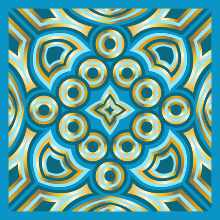 neckerchief: square ornamental overlap golden and light blue pattern. can use this pattern in design of bandana, neckerchief, scarf, shawl, carpet and tile
