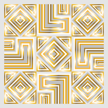 bandana: square ornamental geometric overlap golden and white pattern. can use this pattern in design of bandana, neckerchief, scarf, shawl, carpet and tile