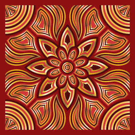 neckerchief: square ornamental overlap golden and red pattern. can use this pattern in design of bandana, neckerchief, scarf, shawl, carpet and tile Illustration