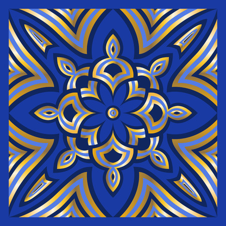 neckerchief: square ornamental overlap golden and blue pattern. can use this pattern in design of bandana, neckerchief, scarf, shawl, carpet and tile Illustration