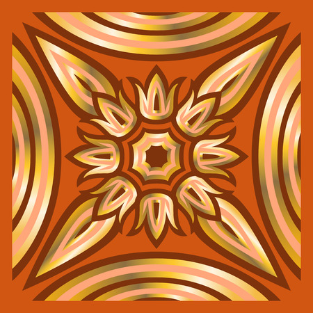 orange pattern: square ornamental overlap golden and orange pattern. can use this pattern in design of bandana, neckerchief, scarf, shawl, carpet and tile
