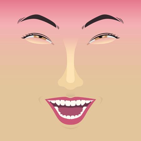 femme qui rit: visage d'une femme en riant Illustration
