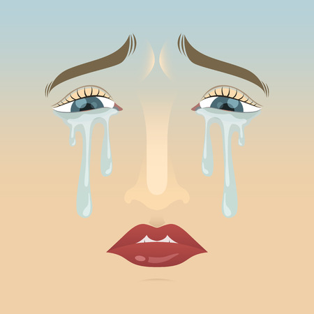 cry woman face character