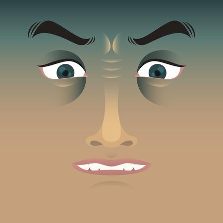 man face: stress man face character