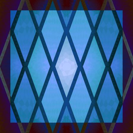 stained glass: square ornamental rhombus blue stained glass pattern