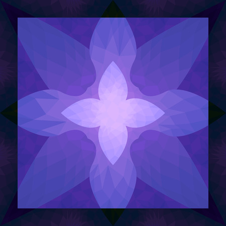 flora: square ornamental flora purple stained glass pattern Illustration