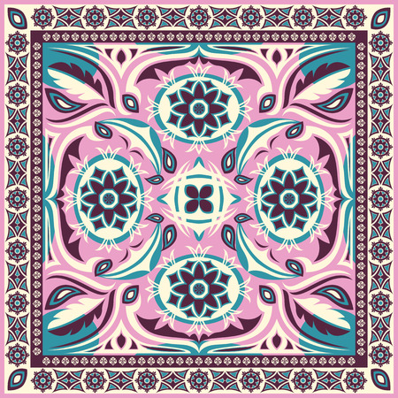 classic style: square ornamental classic style pattern with pink Illustration