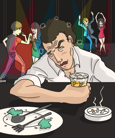 despondent: drunk man in nightclub with dancer background Illustration