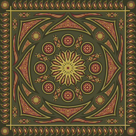 khaki: square ornamental classic style pattern with khaki and red Illustration