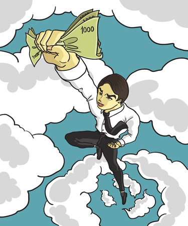 analogy: businessman flying to catch the money