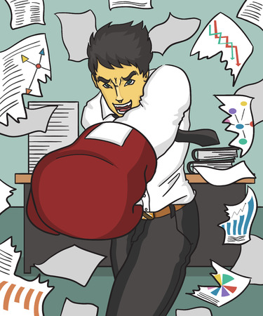 analogy: businessman fighting with hard work